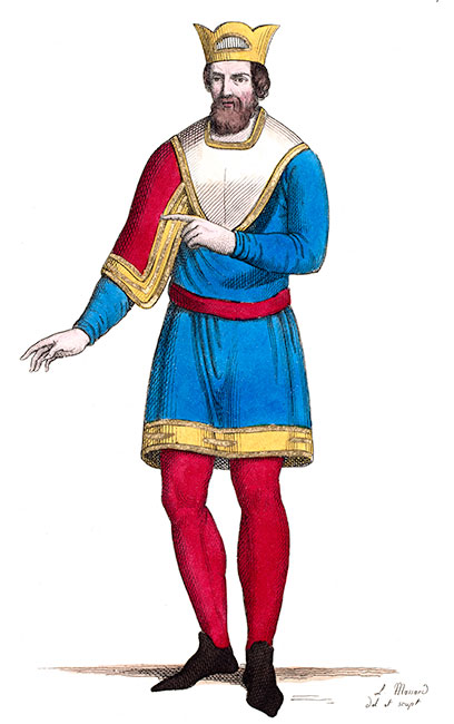 lothaire II, roi de France, dessiné par Massard - Costumes de France - reproduction © Norbert Pousseur