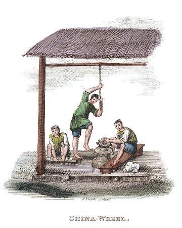 Tour pied de potier chinois gravure sur la chine en 1800 - Tour de potier manuel ...
